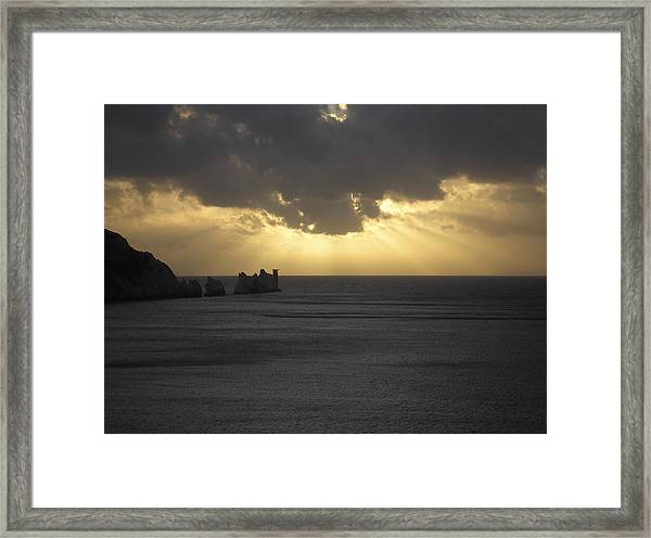 Nightfall At The Needles Point In The Isle Of Wight Framed Print