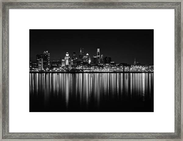 Nightfall In Philly B/w Framed Print