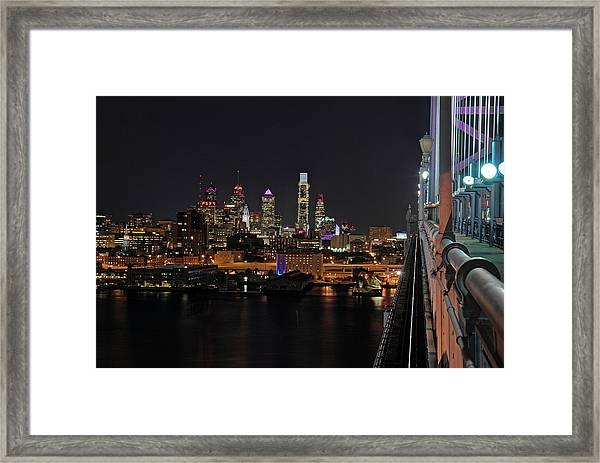 Nighttime Philly From The Ben Franklin Framed Print