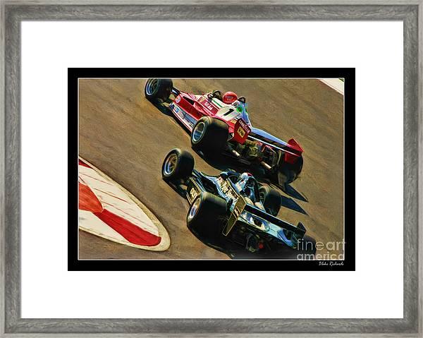Niki Lauda Leads Mario Andretti Framed Print