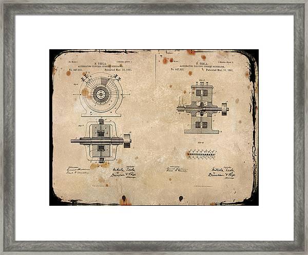 Nikola Tesla's Alternating Current Generator Patent 1891 Framed Print