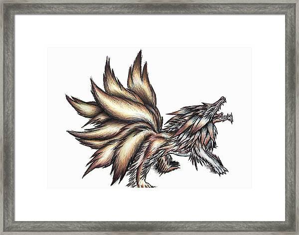 Nine Tails Wolf Demon Framed Print