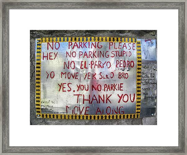 No El Parko Pedro Sign Framed Print