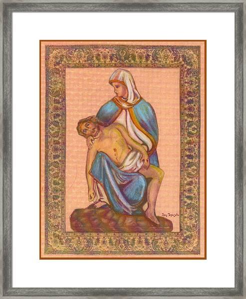 No Greater Love - Jesus And Mary  Framed Print by Ray Tapajna