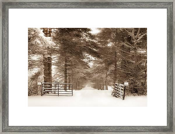 No Trespassing - Sepia Framed Print