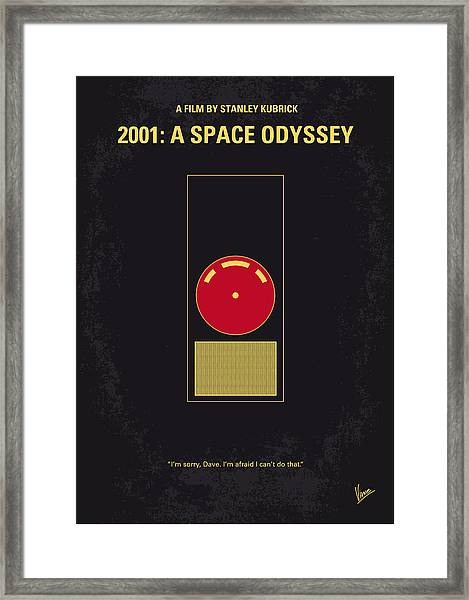 No003 My 2001 A Space Odyssey 2000 Minimal Movie Poster Framed Print