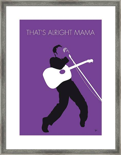 No021 My Elvis Minimal Music Poster Framed Print