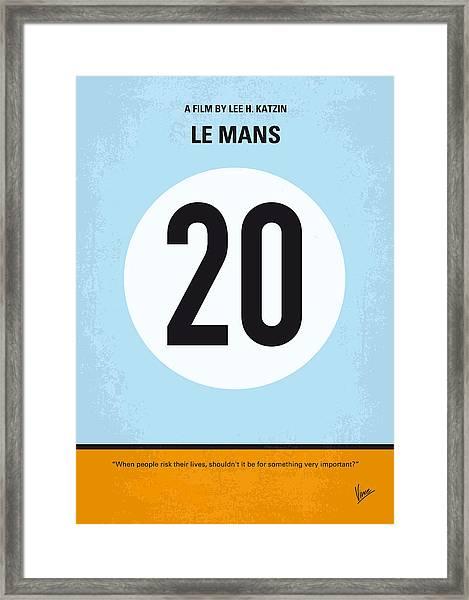 No038 My Le Mans Minimal Movie Poster Framed Print