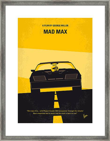 No051 My Mad Max Minimal Movie Poster Framed Print