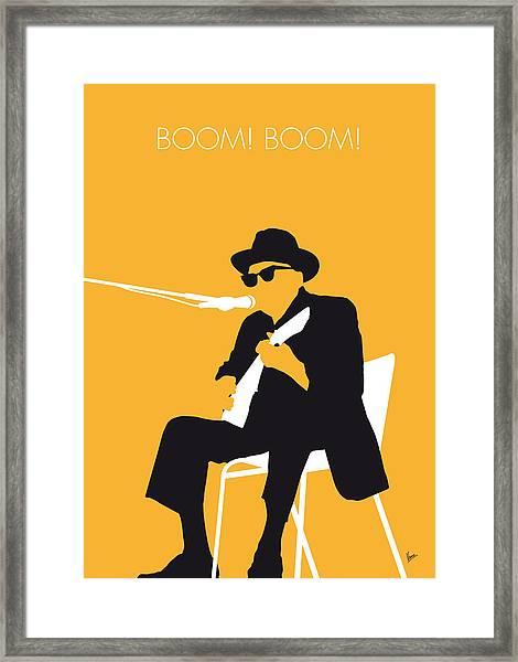 No054 My Johnny Lee Hooker Minimal Music Poster Framed Print