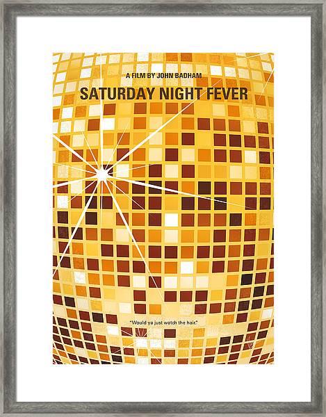 No074 My Saturday Night Fever Minimal Movie Poster Framed Print