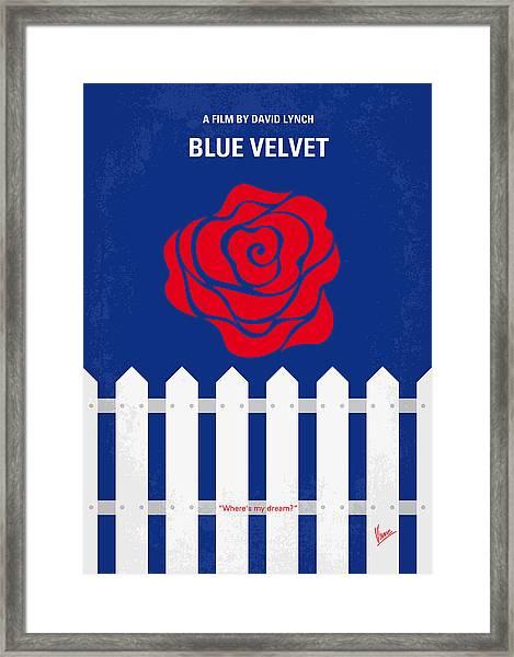 No170 My Blue Velvet Minimal Movie Poster Framed Print