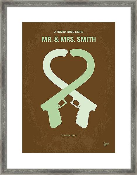 No187 My Mr And Mrs. Smith Minimal Movie Poster Framed Print