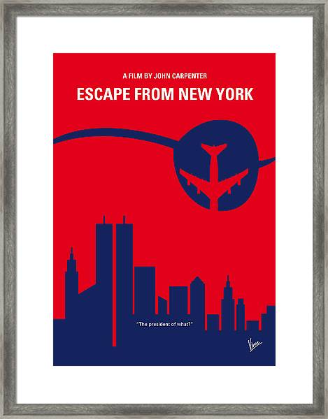 No219 My Escape From New York Minimal Movie Poster Framed Print
