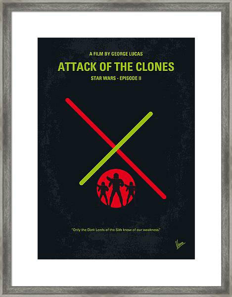 No224 My Star Wars Episode II Attack Of The Clones Minimal Movie Poster Framed Print