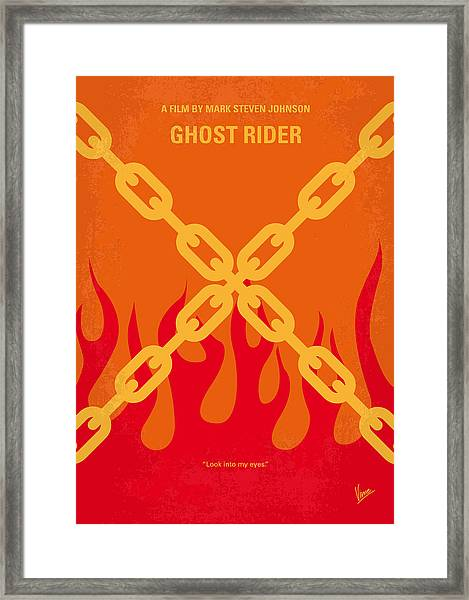 No296 My Ghost Rider Minimal Movie Poster Framed Print