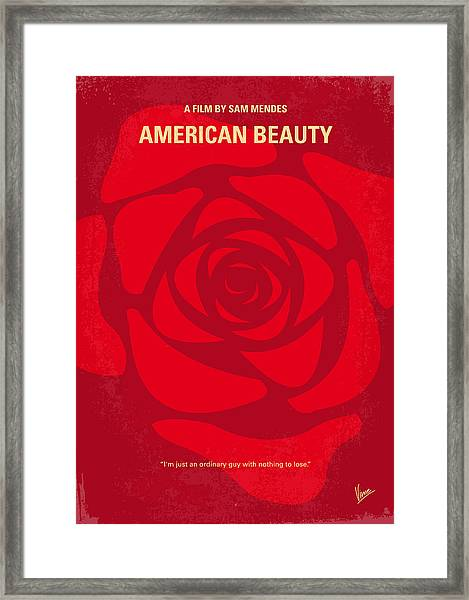 No313 My American Beauty Minimal Movie Poster Framed Print