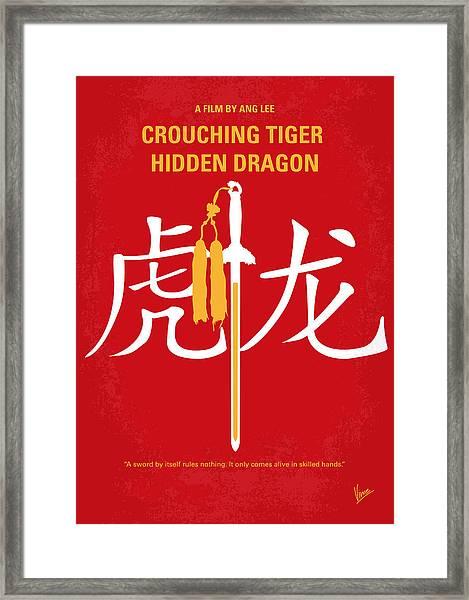 No334 My Crouching Tiger Hidden Dragon Minimal Movie Poster Framed Print