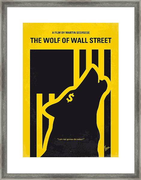 No338 My Wolf Of Wallstreet Minimal Movie Poster Framed Print