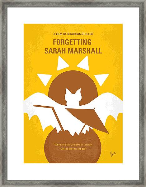 No393 My Forgetting Sarah Marshall Minimal Movie Poster Framed Print