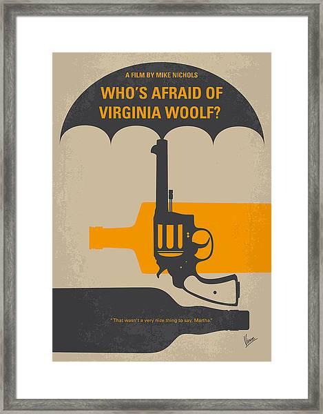 No426 My Whos Afraid Of Virginia Woolf Minimal Movie Poster Framed Print