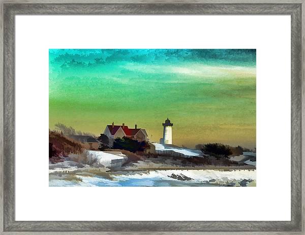 Nobska Lighhouse In Winter Framed Print