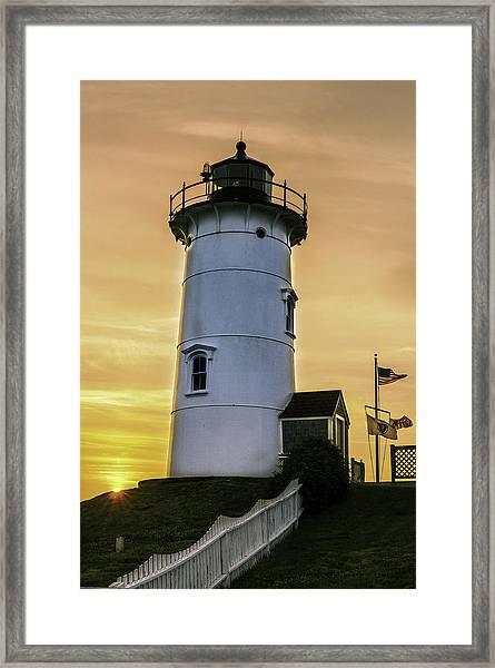Nobska Lighthouse With Starburst Framed Print