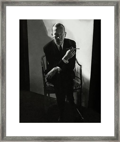 Noel Coward Smoking Framed Print by Edward Steichen