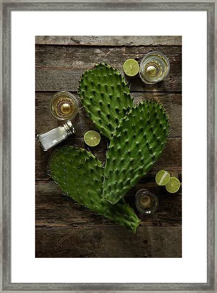 Nopales And Tequila Framed Print