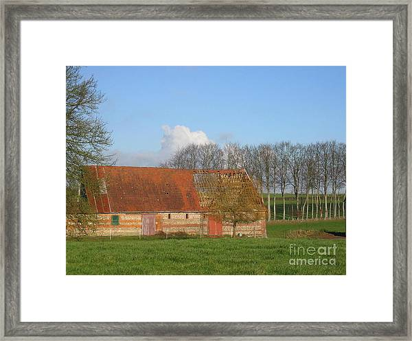 Normandy Storm Damaged Barn Framed Print