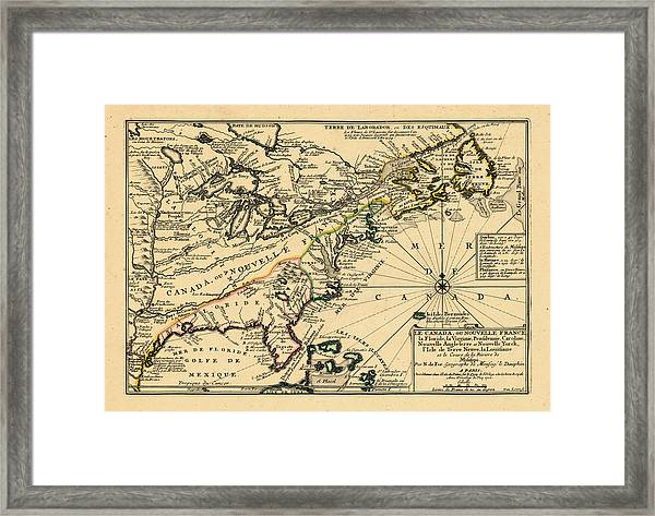 North America, United States, New York, Canada, Pennsylvania, Virginia, North Carolina, 1702 Framed Print by Historic Map Works LLC and Osher Map Library