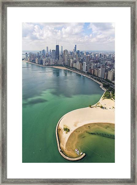 North Avenue Beach Chicago Aerial Framed Print