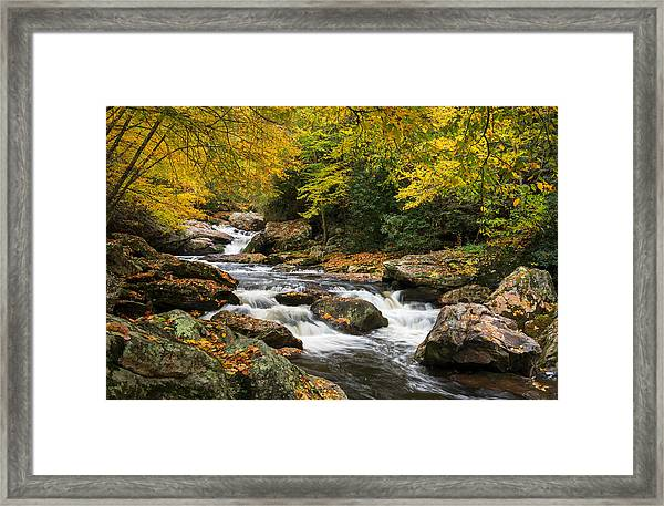 North Carolina Highlands Nc Autumn River Gorge Framed Print