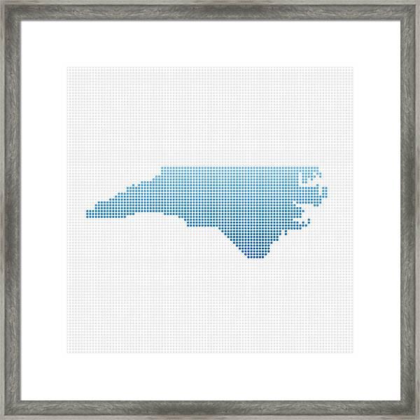 North Carolina Map Blue Dot Pattern Framed Print by FrankRamspott