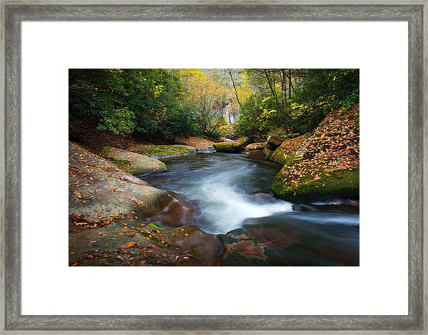 North Carolina Mountain River In Autumn Fall Foliage Framed Print
