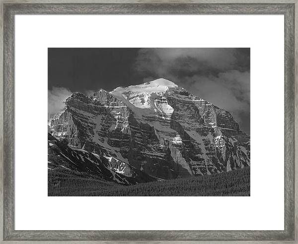 203553-north Face Mt. Temple Bw Framed Print