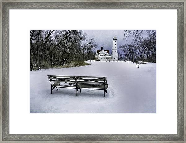 North Point Lighthouse And Bench Framed Print