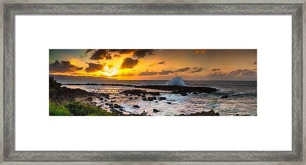 North Shore Sunset Crashing Wave Framed Print