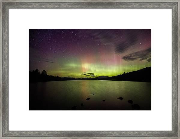 Northern Lights Over Ricker Pond Framed Print