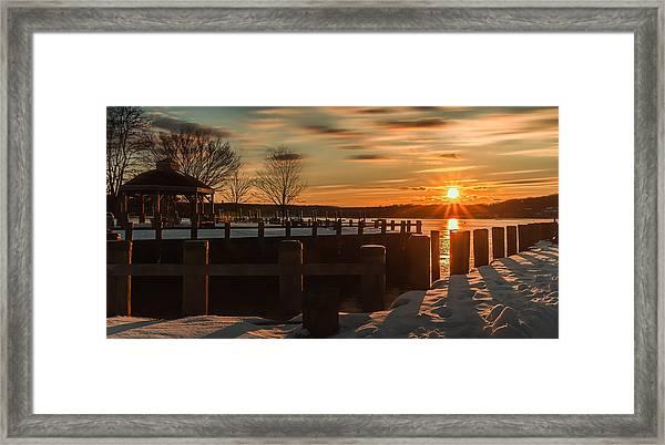 Northport New York Winter Sunset Framed Print