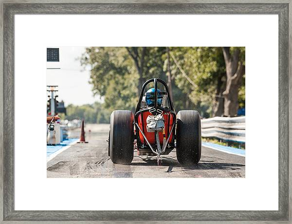 Nostalgia Front Engine Dragster Burnout Framed Print