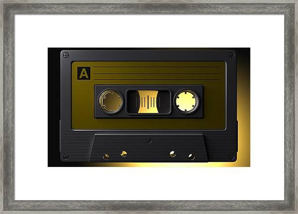 Nostalgic Macro Cassette Tape Framed Print