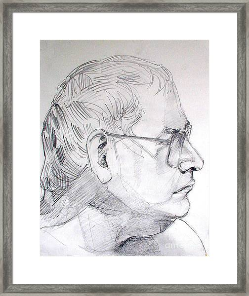 Graphite Portrait Life Drawing Sketch Not So Young Anymore Framed Print