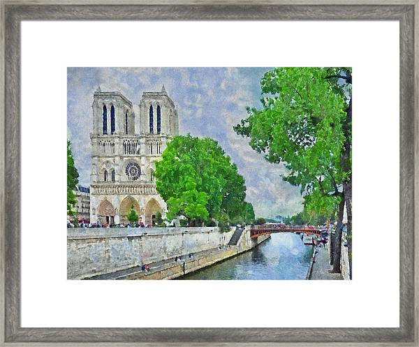 Notre Dame And The River Seine Framed Print