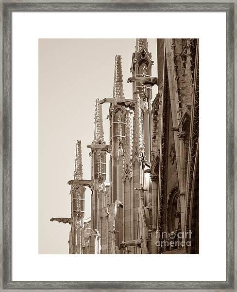 Notre Dame Sentries Sepia Framed Print