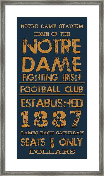 Notre Dame Stadium Sign Framed Print
