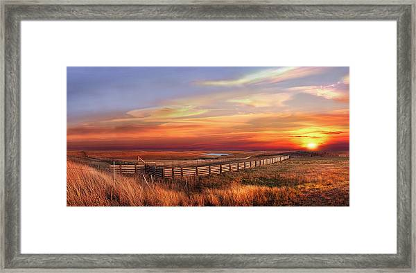November Sunset On The Cattle Pens Framed Print