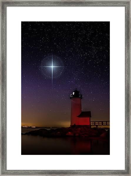 Star Over Annisquam Lighthouse Framed Print