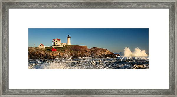 Nubble Light With Rough Seas Framed Print