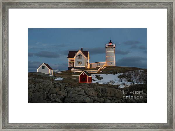 Nubble Lighthouse At Christmas Framed Print